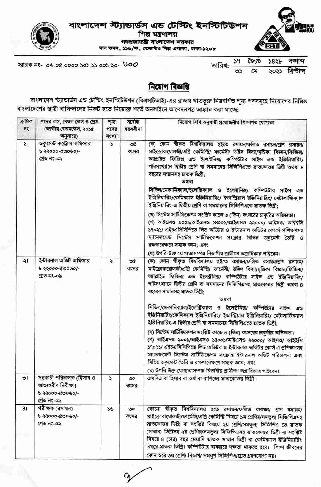 Bangladesh Standards and Testing Institution BSTI Job circular 2021, BSTI job circular 2021, bsti.teletalk.com.bd apply, bsti.gov.bd job circular 2021, BSTI job circular 2021 New jobs Apply,